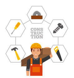 construction worker with wooden boards and tools vector image