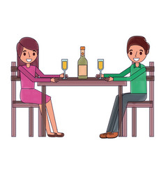 Couple parents sitting with wine bottle glass vector