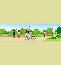 couples in love riding bicycle walking celebrating vector image