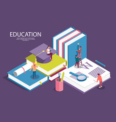 creative isometric templates for staff education vector image