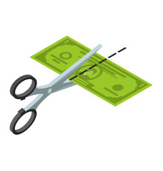 cut half dollar icon isometric style vector image