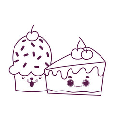 cute food cupcake and slice cake cherry sweet vector image