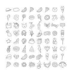 Cute funny girl teenager line icon set fashion vector