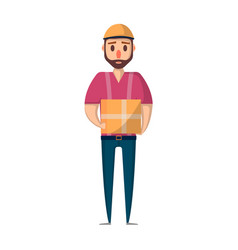 delivery man with box icon in flat style vector image