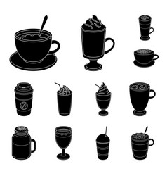 Different kinds of coffee black icons in set vector