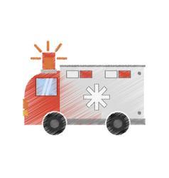 drawing ambulance transport emergency vector image
