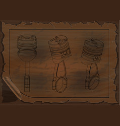 engineering drawings on a wooden board vector image