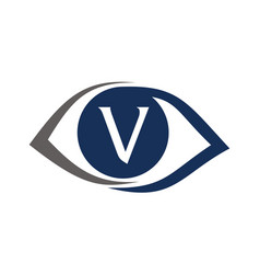 Eye care solutions letter v vector