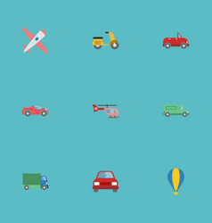flat icons transport luxury auto chopper and vector image