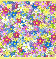 floral colorful seamless background with flowers vector image