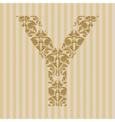 Floral font letter vector