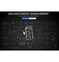 Gas and Energy Management concept with Doodle vector image