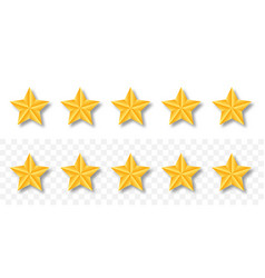 gold raiting stars 5 golden star set with shadow vector image