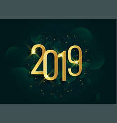golden 2019 3d shiny new year background vector image