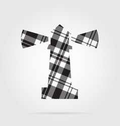 Grayscale tartan isolated icon - lighthouse vector
