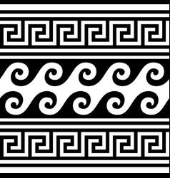 Greek wave and key pattern seamless design vector