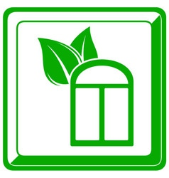 green icon with window and leaf vector image vector image