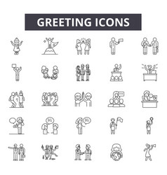 greeting line icons signs set outline vector image