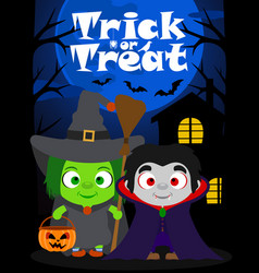 halloween background trick or treating vector image