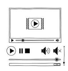 Hand draw sketch doodle video player for web vector