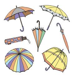 hand drawn of umbrellas vector image