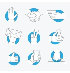 Hand Thin Line Icon Set vector image