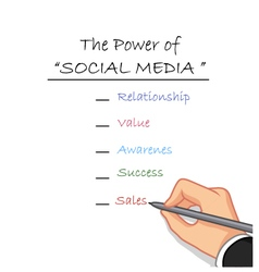 hand writing the power of social media vector image