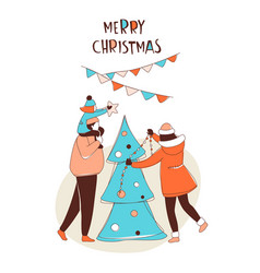 happy family decorating christmas tree vector image
