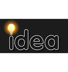idea word with light bulb as concept of idea vector image