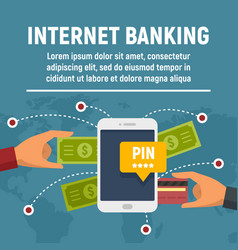 internet banking concept banner flat style vector image