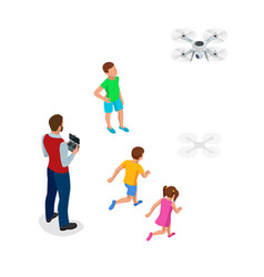 isometric father with children launches a drone vector image