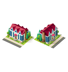 isometric right left view house vector image