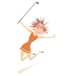 jumping happy woman golfer vector image