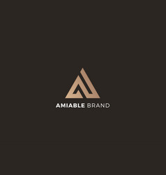 Letter a brown colour 3d creative aesthetic logo vector