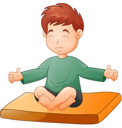 little boy doing yoga pose on white background vector image
