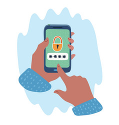 locked smartphone in human hands vector image