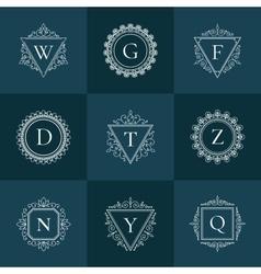 Luxury logo vintage thin line pictogram set vector image