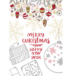merry christmas creative handdrown card with vector image