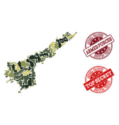 Military camouflage collage of map of andhra vector
