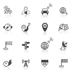 Mobile navigation icons black vector image vector image