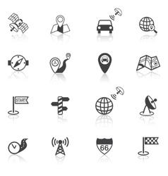 Mobile navigation icons black vector image