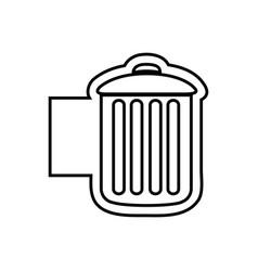 monochrome contour emblem with trash container vector image