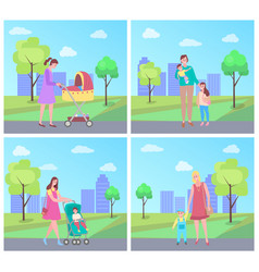 Mother walking with kid newborn child in pram vector