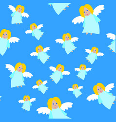 new year angels in blue dresses seamless pattern vector image