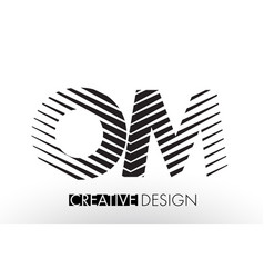 om o m lines letter design with creative elegant vector image