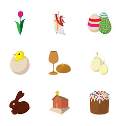 Orthodox easter icons set cartoon style vector