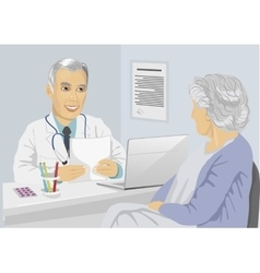 patient having consultation with mature doctor vector image