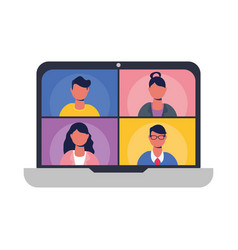 People on websites in video chat at laptop vector