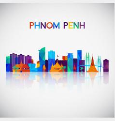 phnom penh skyline silhouette vector image