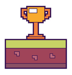 Pixelated trophy cup award game vector